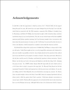 Acknowledgements in dissertation