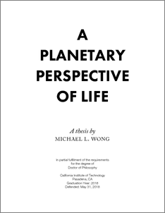 A Planetary Perspective Of Life - CaltechTHESIS