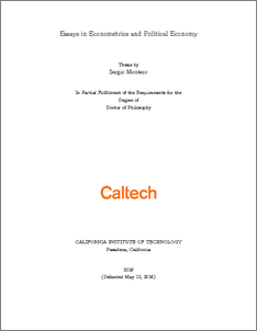 essays in econometrics and political economy caltechthesis thesis files